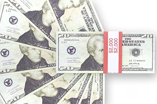 Realistic Double Sided Prop Money - Set of 100 $20 Dollar Bill Total $2,000 with Red Currency Strap - Full Print Paper Money for Movie, TV, Videos, Pranks, Advertising & Novelty, 6.25 x 2.5 Inches (2000 Dollars)