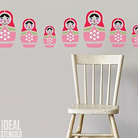 russian doll stencil nursery home wall decorating art craft