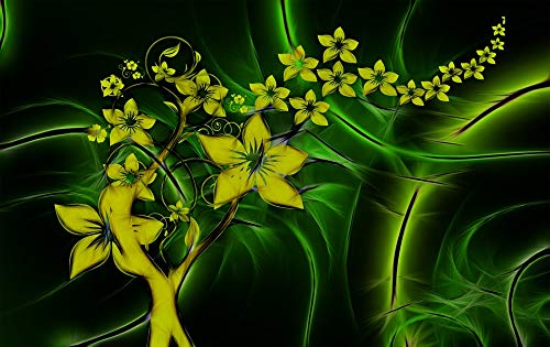 Home Comforts Peel-n-Stick Poster of Fractals Flora Entwine Abstract Yellow Flowers Vivid Imagery Poster 24 x 16 Adhesive Sticker Poster Print