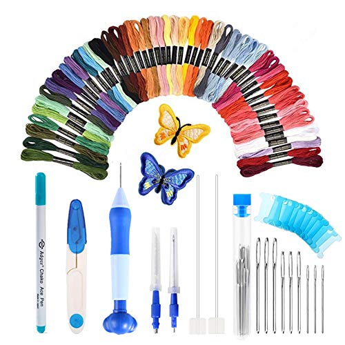 [Latest Model]Punch Needle Embroidery Kit,Punch Needle Set Magic Embroidery Pen with 50 Colors Threads&Embroidery Tools ()