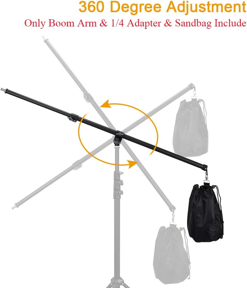 Light Stand Not Include UTEBIT 31.5-55 Adjustable Boom Arm with Sandbag 80-140cm Reflector Holder Arms 4.6ft Frosted Overhead Camera Holding Light Stand with 360 Swivel Head for Photo Video Studio