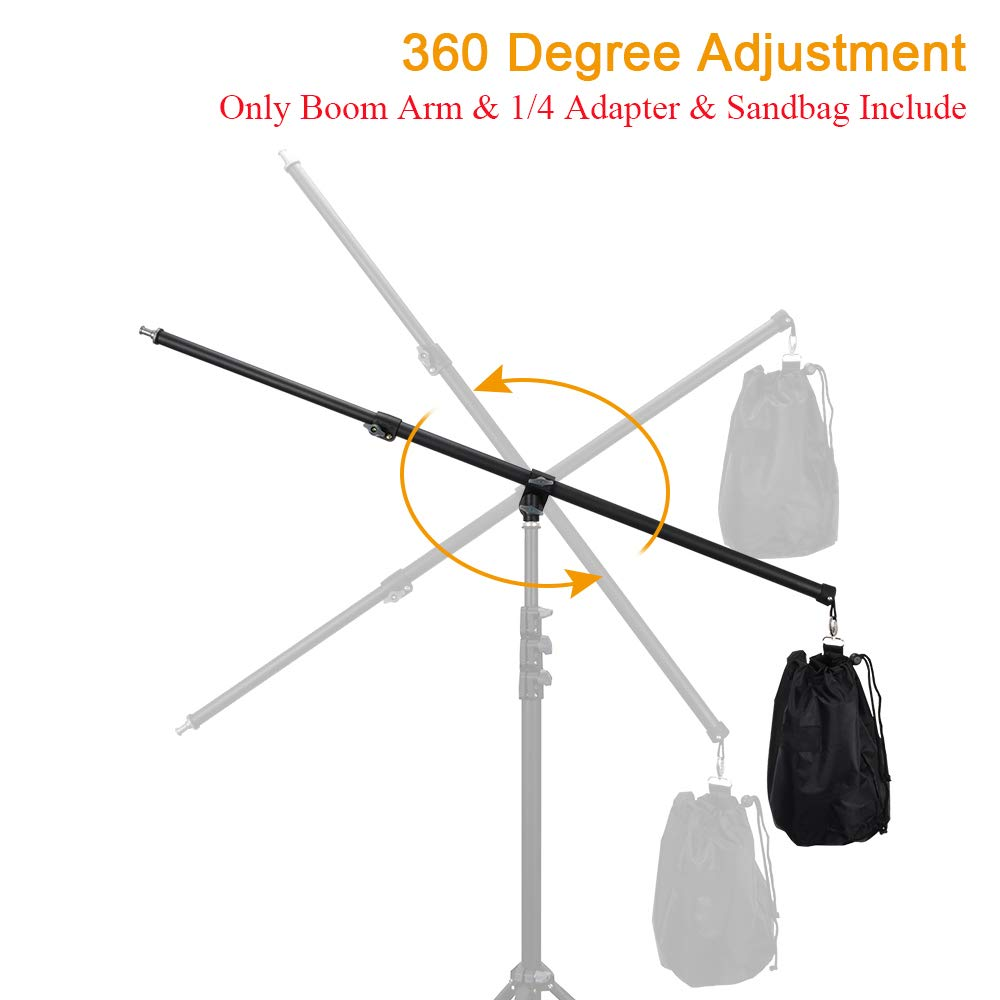 UTEBIT Professional Boom Arm Adjustable 80-140cm Reflector Holder Arms 4.6ft Frosted Overhead Camera Holding Light Stand with Sandbags 360 Swivel Head for Photo Video Studio (Light Stand Not Include) by UTEBIT (Image #6)