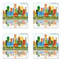 Lunarable Kentucky Coaster Set of Four, Colorful City Love Themed Pattern with Dotted Louisville Lettering Travel Concept, Square Hardboard Gloss Coasters for Drinks, Multicolor