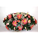 Beautiful-XL-Spring-Coral-Roses-w-Dalhias-Cemetery-Tombstone-Headstone-Saddle