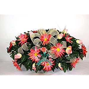 Beautiful XL Spring Coral Roses w Dalhia's Cemetery Tombstone Headstone Saddle 15