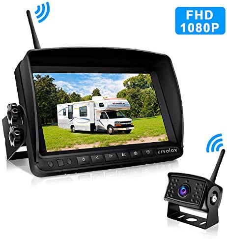 URVOLAX-Wireless Backup Camera-Digital 1080P FHD and 7 Monitor Kit-Rear View Camera for Trucks-RV,Trailer,Bus,Camper,Van170 Wide View Angle,IP69K Waterproof,Guide Lines ON Off,Strong Signal