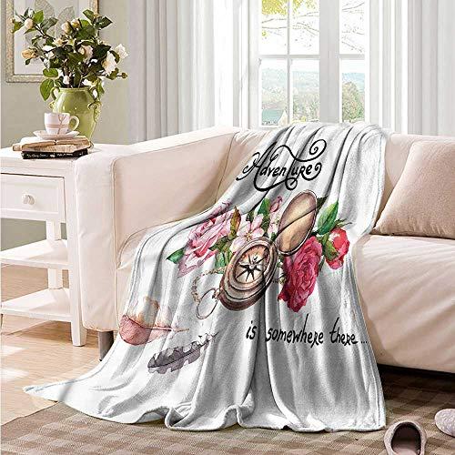 (Oncegod Beds Blanket Adventure Old Compass Flowers Super Soft Cozy 60