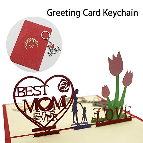 3D Pop Up Mothers Birthday Gift Cards And I Love Mom Key Chain Thanksgiving Day Thank You Greeting With Stylish Envelope