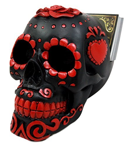 Skull Jaw - Atlantic Collectibles Day Of The Dead Sugar Skull Business Card Holder Figurine Desktop Office Accessory