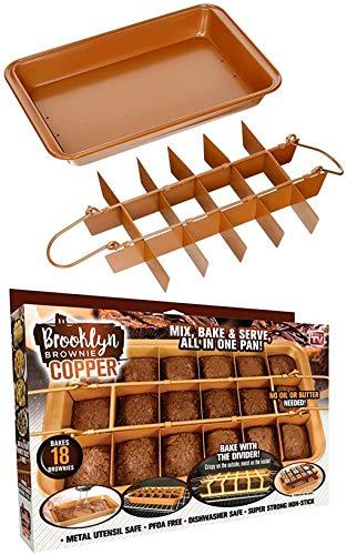 Brooklyn Brownie Copper by GOTHAM STEEL Nonstick Baking Pan with Built-In Slicer, Ensures Perfect Crispy Edges, Metal…