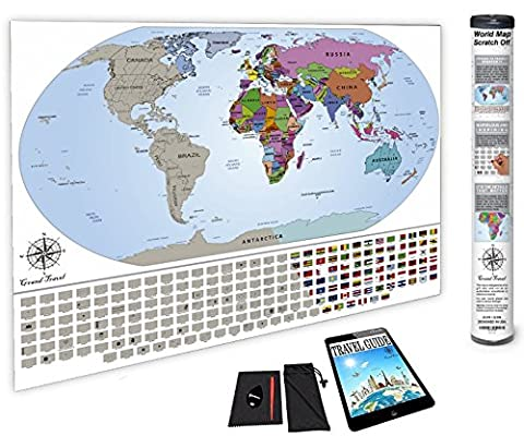 World Map Scratch Off Poster - Premium Quality - Modern-Style - Thick & Durable - Matte-Finish - US States, Countries & Flags - Detailed Cartography - Gift Ready - Tools & eBook Included - - Detail Map