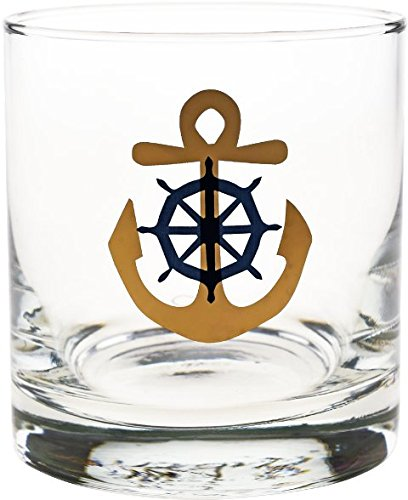 Culver Gold 22k Anchor and Wheel 11-Ounce Old Fashioned Glass (Set of - Gold Glasses Culver
