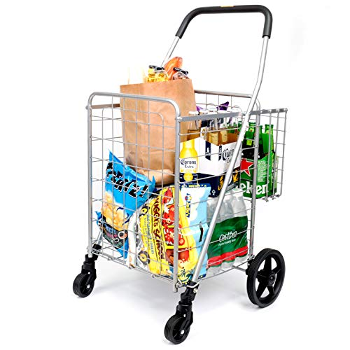 Durable Utility Folding Shopping Cart – Supenice (SN7504) Double Basket, Mesium Size, Swivel Wheels, 66 lbs Capacity Multipurpose Trolley Dolly Suitable with Laundry, Shopping, Grocery
