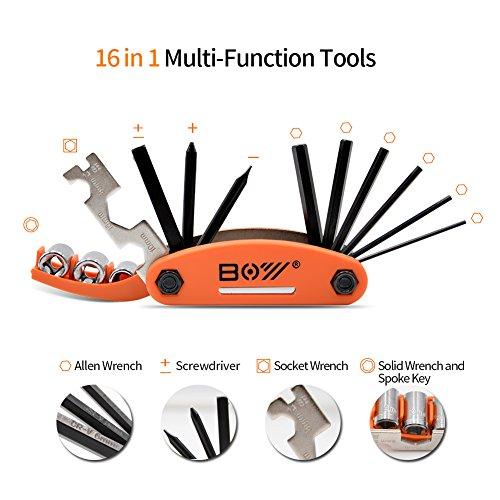 AQQEF Bike Repair Kit, Bicycle Repair Kits Bag With Portable Bike Pump  16-In-1 Bike Multi Tool Kit Sets by AQQEF (Image #1)