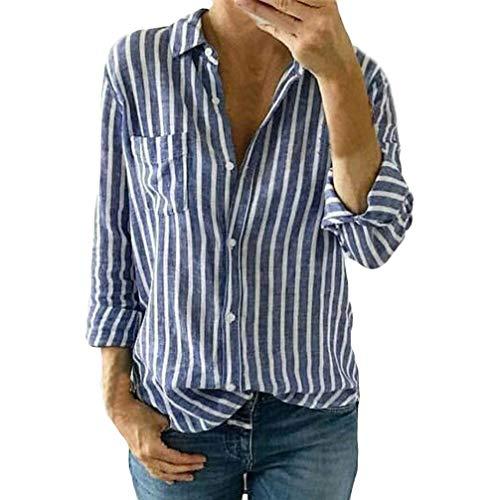 Manches Women Chemisier Bleu Kanpola Tunique Femme Longues g8AwnOx