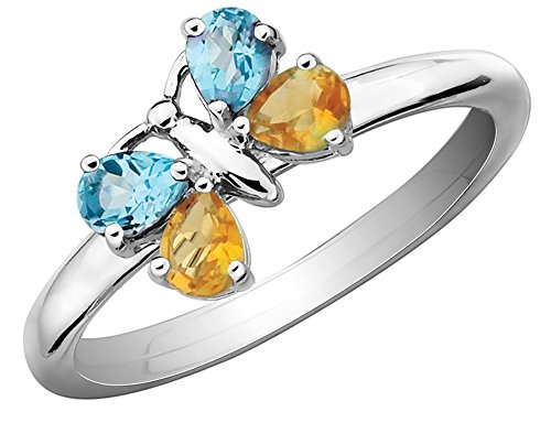 Citrine and Blue Topaz Butterfly Ring 1/2 Carat (ctw) in Sterling Silver