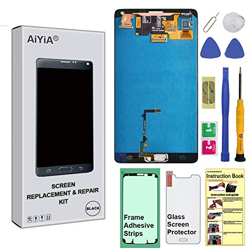 Display Touch Screen (AMOLED) Digitier Assembly with Stylus Pen Sensor and Home Button for Samsung Galaxy Note 4 (IV) N9100 N910A N910V N910P N910T N910R4 N910W8 N910F N910H N910G N910C N910U (Black)