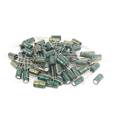 Aexit 70 Pcs 100uF 35V 105C Aluminum Electrolytic Capacitors 6.3 x 12mm (0.25' Lead)