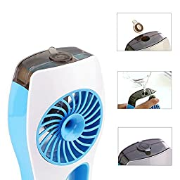 Momoday® 3 Speeds Portable mini USB Rechargeable Cooling Replenishment Fan Powered by 18650 Rechargeable Battery Misty Cooling Hydrating Fan for Hot Summer Outdoor Travelling (Blue)