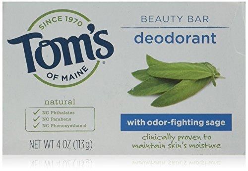 Tom's of Maine Natural Deodorant Beauty Bar With Odor Fighting Sage, 4 oz (1 Bar) (Best Odor Fighting Deodorant)