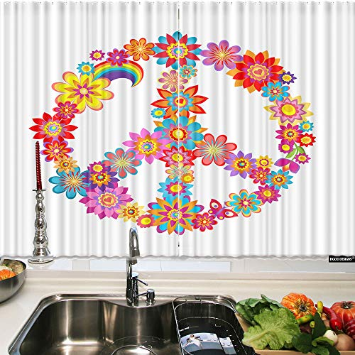 HGOD DESIGNS Kichen Window Curtain Flower,Colorful S Peace Flower-Power Symbolkitchen Valances for Waterproof Windows Curtain Sets for The 2 Panels Curtain,55