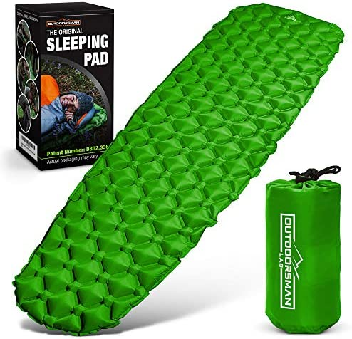 Outdoorsman Lab Sleeping Pad for Camping – Patented Camp Mat, Ultralight – Best Compact Inflatable Air Mattress for Adults Kids – Lightweight Hiking, Backpacking, Outdoor Travel Gear