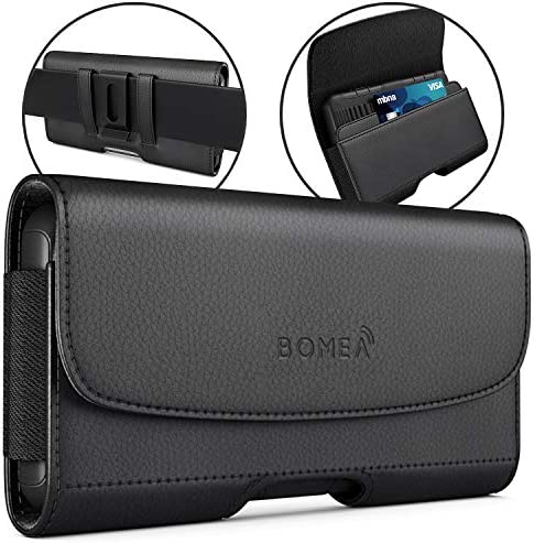BOMEA Samsung Galaxy S10 Plus Holster, Galaxy S9 Plus S8 Plus Belt Holster Case with Belt Clip, Leather Cellphone Pouch w/Credit Card Holder for Samsung s10+ Plus/S9+/S8+ (Fits Phone with Case On)