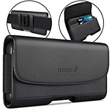BOMEA iPhone 11 Pro Max/XS Max Holster, Premium Leather Belt Case with Belt Clip and Loops Cell Phone Holder Pouch for Apple iPhone Xs Max / 11 Pro Max (Fits Phone w/Otterbox Commuter Case) Black