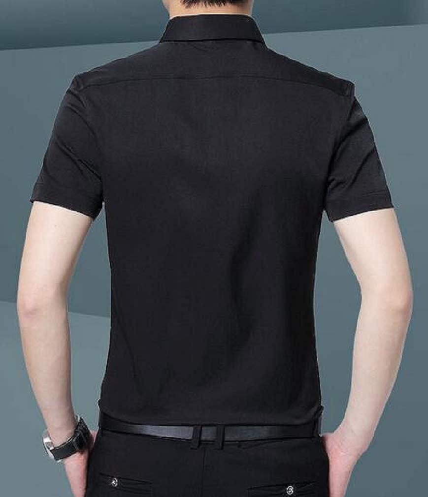 Cromoncent Men Regular Fit Short-Sleeve Button Up Business Solid Dress Shirt