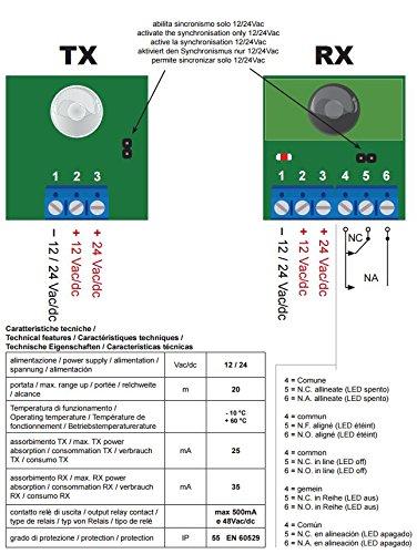 protection contre les perturbations /électromagn/étiques et filtre Soleil Alimentation 12-24 Vca-Vdc port/ée jusqu/à 30 m en toutes condition. Cellules /à encastrer 60 mm diam/ètre sincronizzata