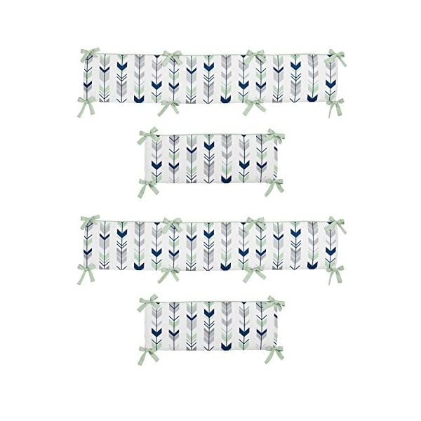 Sweet Jojo Designs Grey, Navy and Mint Woodland Arrow Collection Baby Girl or Boy Crib Bumper