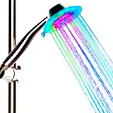 coolest rain shower heads PISSION Color Changing Showerhead Handheld LED 3 Water Mode 7 Color Glow Light Automatically Changing (Multicolor)