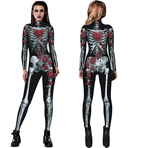 Franterd Womens Adult Halloween Rose Skeleton Skull Bone Costume Party Fancy Play Clothing (M, Black)