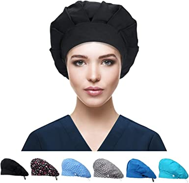 CZZSTANCE Working Cap with Button and Sweatband Adjustable Bouffant Hats for Women Men Hats One Size