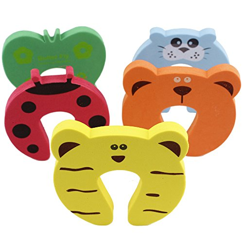 5 Pcs Baby Kids Safety Door Stopper Cute Finger Pinch Guard Protector Cartoon (Diamond Skull Belts Clothing)
