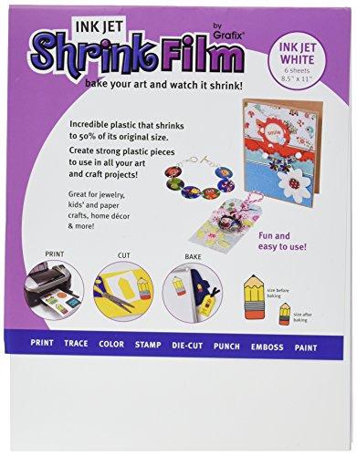 Grafix Inkjet (Grafix KSF6-WIJ 8-1/2-Inch by 11-Inch Shrink Film, Printable, White Inkjet, 6-Pack)