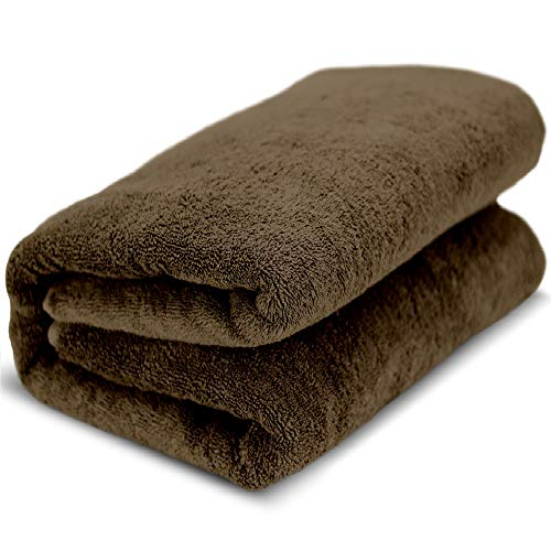 Towel Bazaar 100% Turkish Cotton Multipurpose Towels-Large Bath Sheet/Beach Towel/Bath Towel, Eco-Friendly (Oversized 40×80 inches, Cocoa)