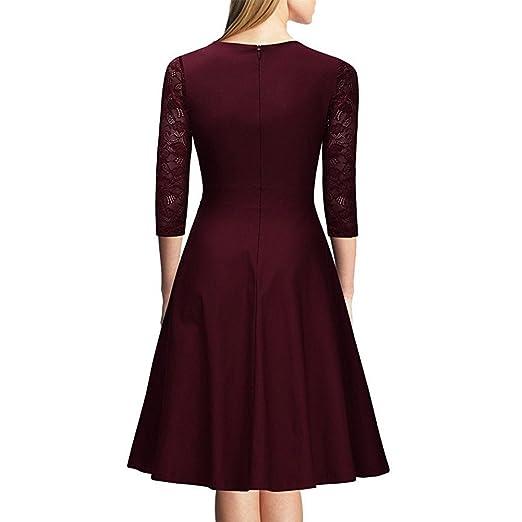 Mena UK Vintage de los años 1950 estilo de encaje vestido de longitud de la rodilla retro vestido de cóctel: Amazon.es: Deportes y aire libre