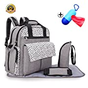 PHNAM Diaper Bag Durable Multi-Function Large Capacity Travel Tote Backpack Nappy Bags for Baby Care (Gray)