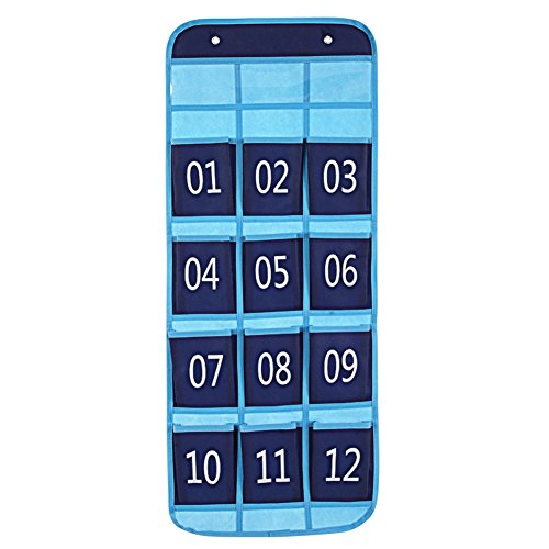 - Zmmyr 12 Pockets Pocket Chart Teaching Materials Numbered Classroom Pocket Charts for Cell Phones Holder with Design Slogan Column