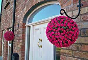 Best Artificial - 2 topiarios de rosas colgantes, 28 cm, resistentes a rayos UVA y no se destiñen, color rosa