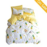 【Latest Arrival】 Kids Duvet Cover Queen Cotton Pineapple Duvet Cover Cream Full Fruit 3 Pieces Yellow Duvet Cover Lightweight Cute Comforter Cover with Zipper for Girls Adults, NO Comforter NO Sheet