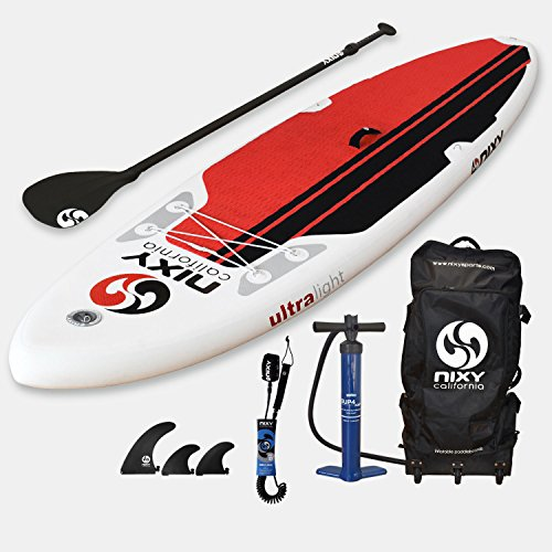 NIXY All Around Inflatable Stand Up Paddle Board Package. Ultra Light 10'6'' Newport Red & White Paddle Board Built with Advanced Fusion Laminated Dropstitch Technology and 2 YR Warranty by NIXY