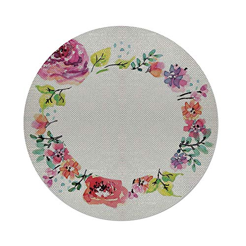 iPrint Cotton Linen Round Tablecloth,Watercolor Flower,Round Flower Wreath Romantic Fresh Floral Frame Design Print,Orange Coral Green,Dining Room Kitchen Table Cloth Cover ()