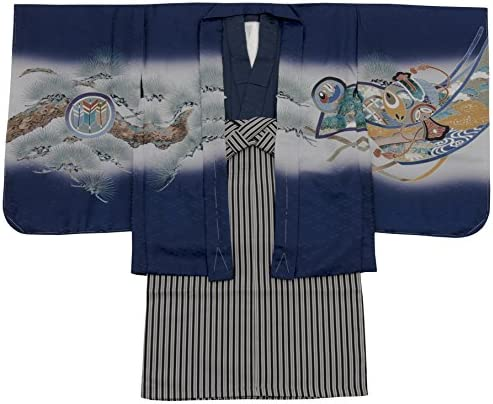 七五三 着物 男の子 五歳 13点フルセット 羽織袴セット 兜 ネイビー 紺 3510-00004-1 (袴股下 55cm)