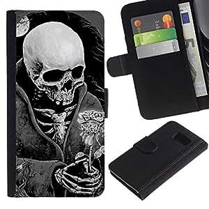 EJOY---La carpeta del tirón la caja de cuero de alta calidad de la PU Caso protector / Samsung Galaxy S6 / --Muerte Cráneo Negro Blanco Luna Rose