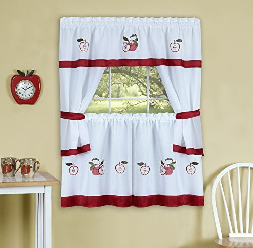 Gala Embellished Cottage Kitchen Curtain Set With Red Apples, 58x36 Inches