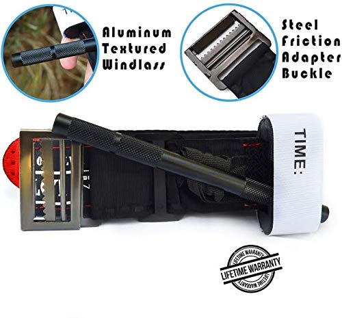 Tactical Tourniquet - Ultra Strong Combat Tourniquet with Metal Friction Adapter Buckle & Aluminum Windlass for SWAT, Military, Police & Civilians. Fits TQ Holder, Duty Belt & Medical First Aid Kit