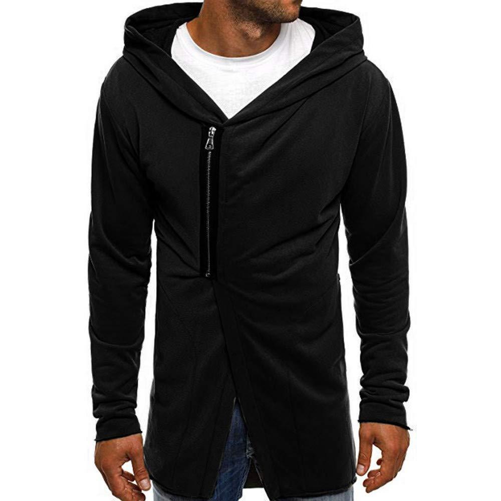 kaifongfu Zipper Men Long Sleeve Pullover Top Sweatshirt Autumn Winter Coat(Black,M)