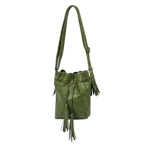 f26bbc4174 SODIAL(R) Women bag Tassel fashion bucket bag pu leather patchwork women  shoulder bag messenger bag women handbag green  Amazon.in  Shoes   Handbags